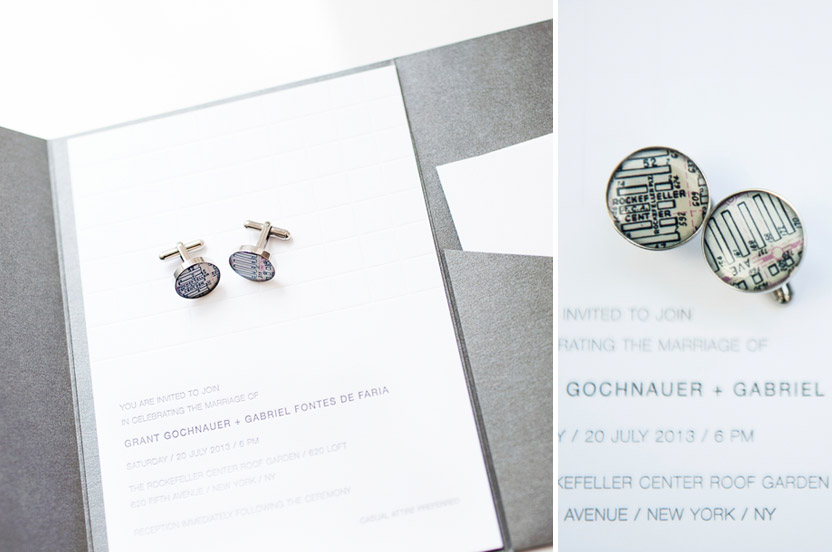 "The Wedding Library invitation and letterpress stationery suite used crisp fonts, clean spacing and sizing. The charcoal gray folder and inks were a sophisticated accent. When I found these ""Rockefeller Center"" cufflinks, I knew I had to buy them for the grooms."