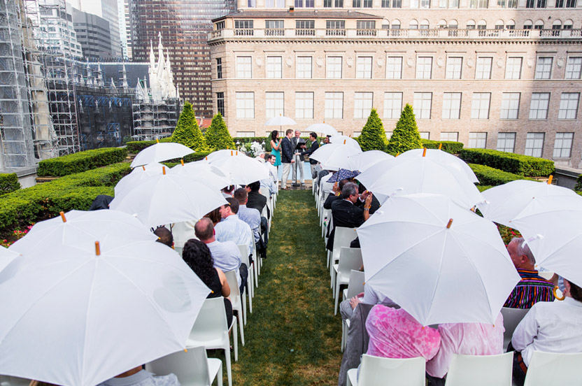 Although the day was glorious, a sudden sun shower took us all by surprise. In an instant, Wedding Library umbrellas were passed out to all.