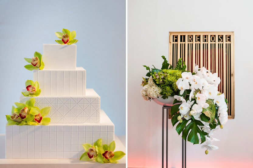 The chic cake design mirrored the patterns from the stationery suite. We artfully placed the fresh orchid blossoms right before guests entered the room. The clean loft space retains several art deco touches from the original construction. We love the way the highly stylized blooms work with the space.