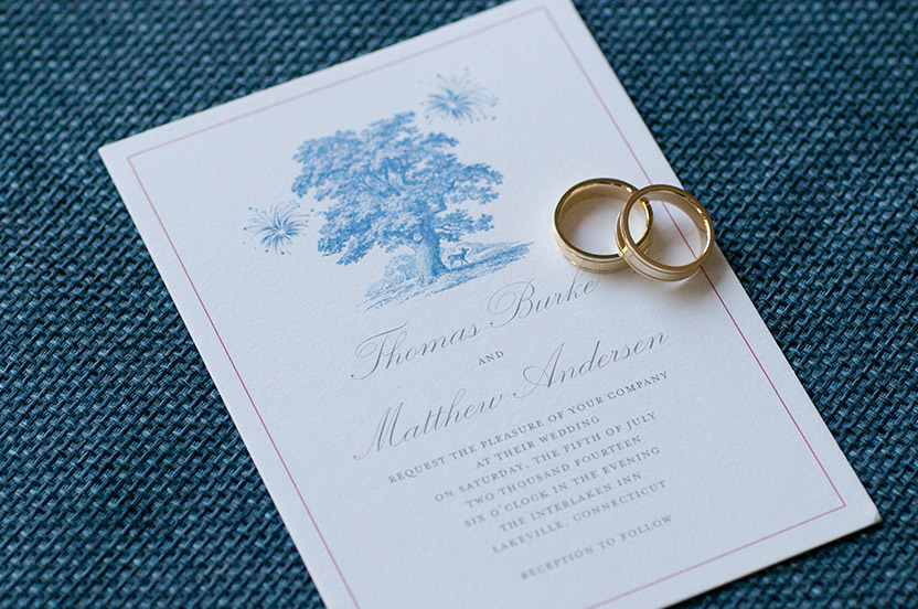 "The couple fell in love with the Wedding Library Collection's Woodland invitation suite but wanted to stick with their ""red, white and blue"" color scheme for their July 4 weekend wedding. By testing the colors during the proof process, they got the custom invitation they were hoping for."