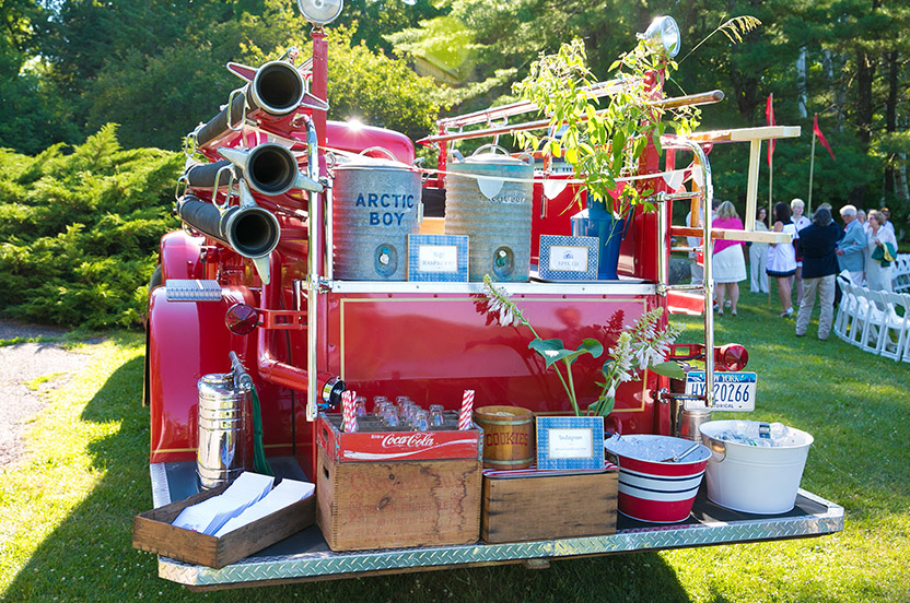 The engine served double duty as a lemonade station and resting spot for guests before and after the ceremony.