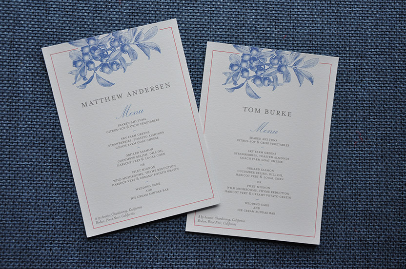Wedding Library Collection custom menu cards are further personalized with each guest's name.