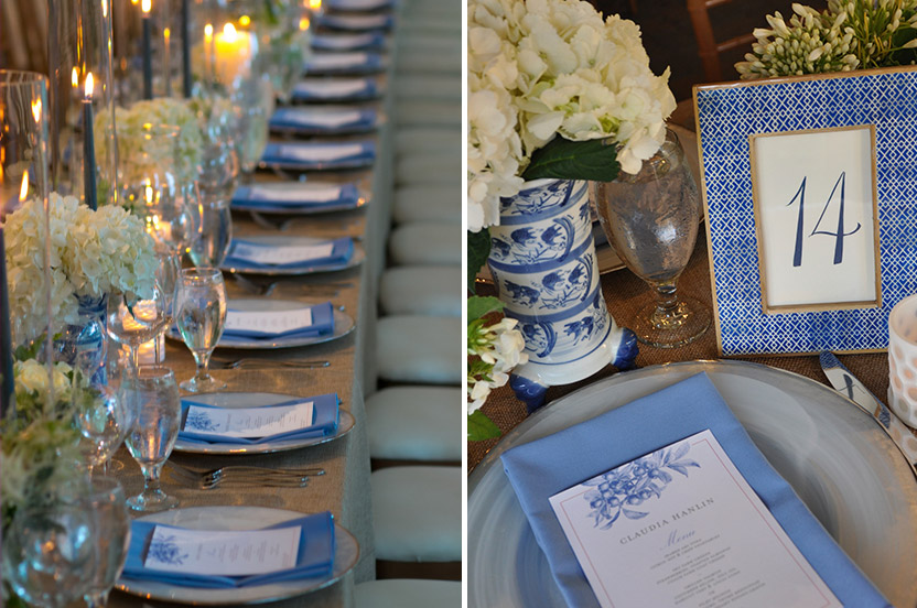 We layered our Wedding Library Collection patterned table number frames, textured votives and Wedgewood blue containers with our sophisticated chargers for a clean, masculine, country-sophisticate look.