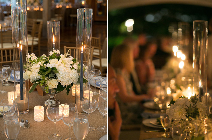 Round tables have one larger mixed arrangement and the long tables have groupings of single flower posies.  Hydrangeas and lilies, both grown at the grooms' nearby home, are well represented.