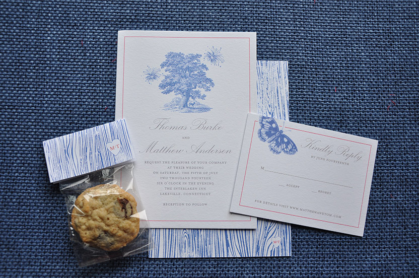 The recurring motif of faux bois shows up on gift bag packaging and even on the wedding cake. Woodland creatures such as butterflies, hares, bees and bucks are printed on various pieces of the wedding paperie suite.