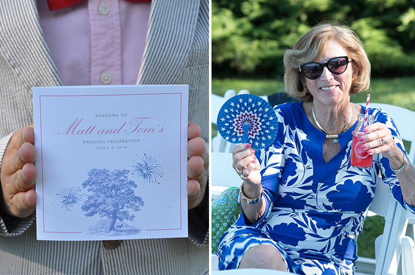 The tri-fold weekend program gave welcome guidance to the many events. Patriotic mini fans and retro drinking glasses keep the mother of the groom cool.