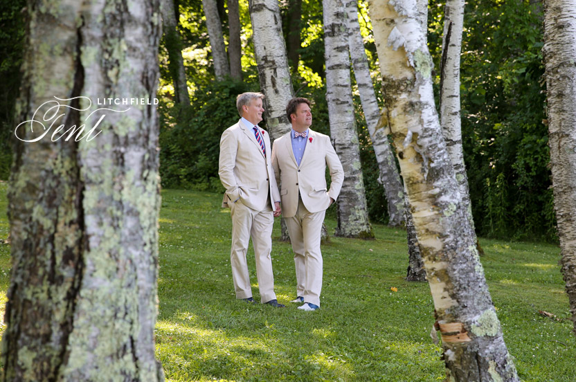 The couple was thrilled to share their favorite Litchfield retreat with friends and family. The surrounding woods inspired the faux bois wedding motif.