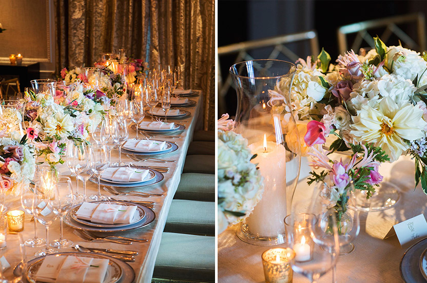 With a color palette picked by the bride, the Wedding Library designed the dining table, coordinating our signature Wedding Library chargers with the hotel's exquisite china, silverware and glassware.