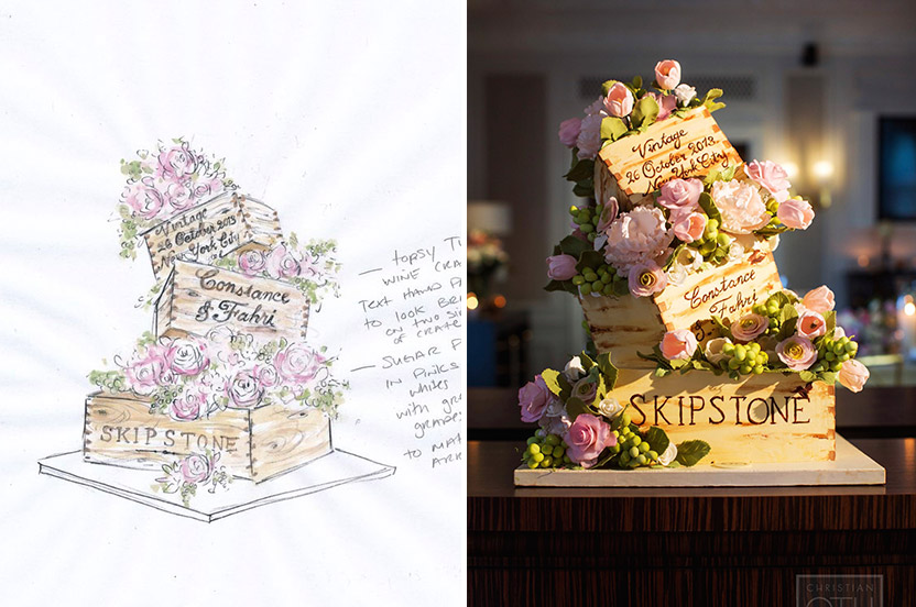 "Sylvia Weinstock, too, provided a watercolor of her confection to better help visualize the cake she designed. The amazing result was much photographed, and of course included wine ""boxes"" from the couple's vineyard and an imprint of the couple's name, wedding date and place."