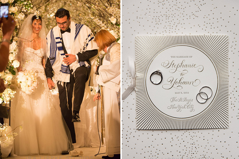 We designed the program to coordinate and complement the wedding invitation suite. The groom breaks the glass at the end of the touching ceremony.