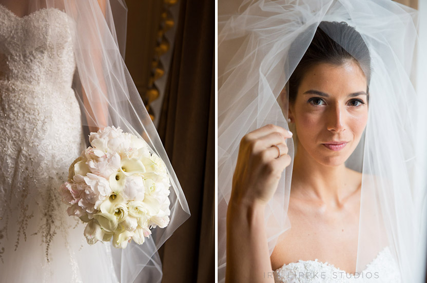 Our Paris fashion-industry bride's gown, veil and flowers were runway perfect for this ballroom wedding.