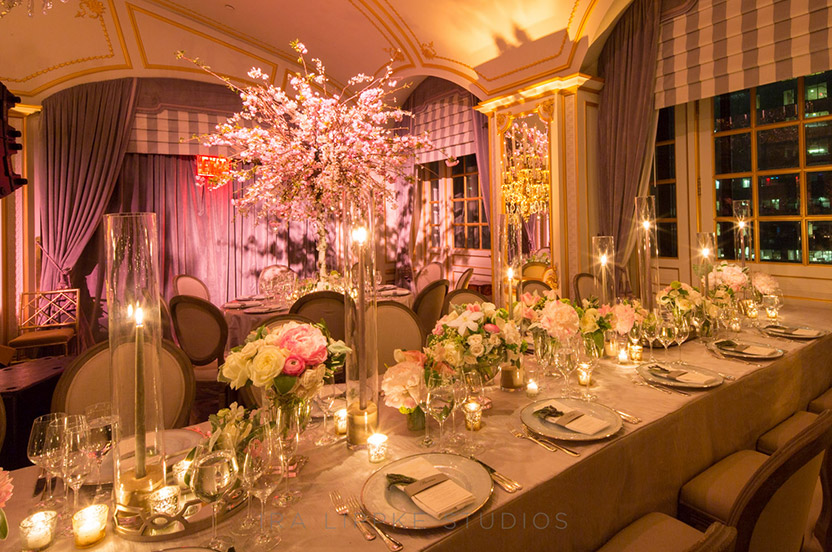 Every bit of space was well utilized. We enjoyed finding the perfect custom fabric, flower and lighting hues to work with the brand new ballroom décor.