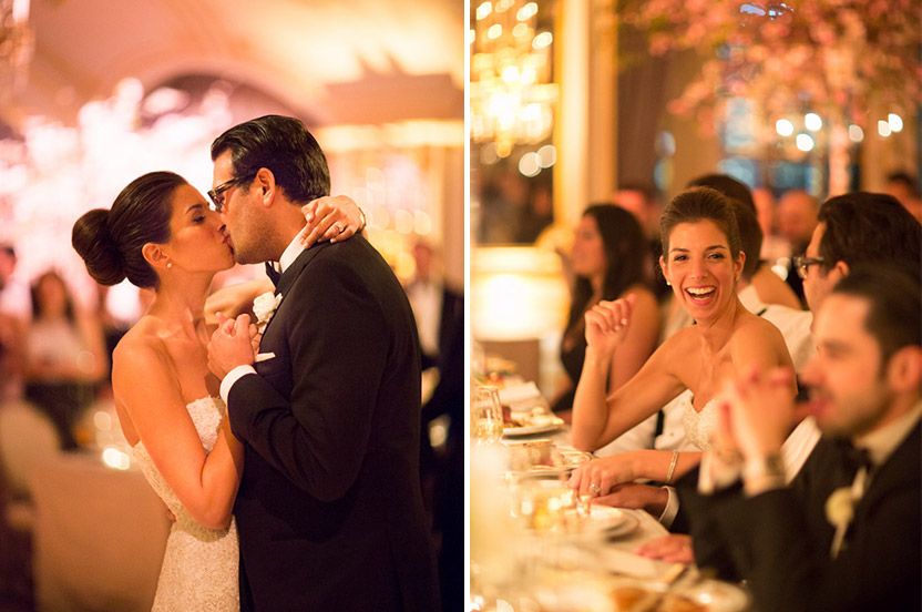 The bride and groom end their first dance with a kiss before sitting down to a delicious multi-course feast.
