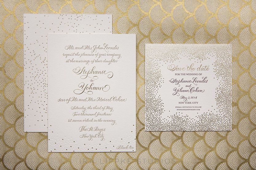 The save the date, invitation and other pieces of the paper suite are festive, yet classic.