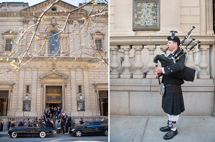 Kelly's Irish family was thrilled to hear the bagpiper who we arranged to have playing outside the church as guests exited.