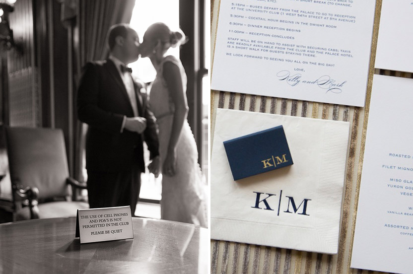 Well, there was a little PDA at this wedding. I loved using a variety of printing methods for the stationery suite. We carry the navy, white and gold theme throughout the wedding.