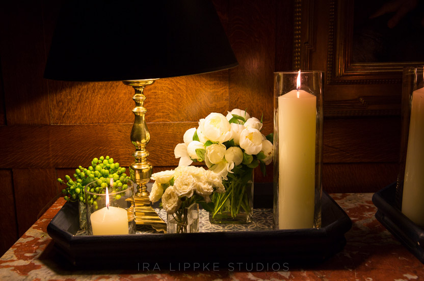 An intimate vignette greets guests entering the dining room.