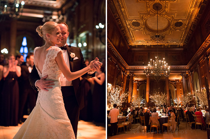 The room comes alive with the sparkle of guests and the couple's first dance.