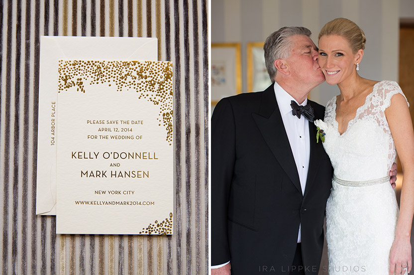 Kelly and Mark's save the date set the tone for their very international guest list. Kelly's dad shows full support!