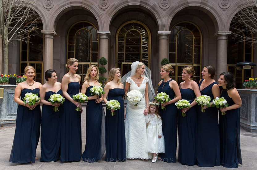 The bridal party prepared at the Palace hotel; the courtyard is a perfect location for photos. Wedding Library bridesmaids dresses in different styles look great on everyone.
