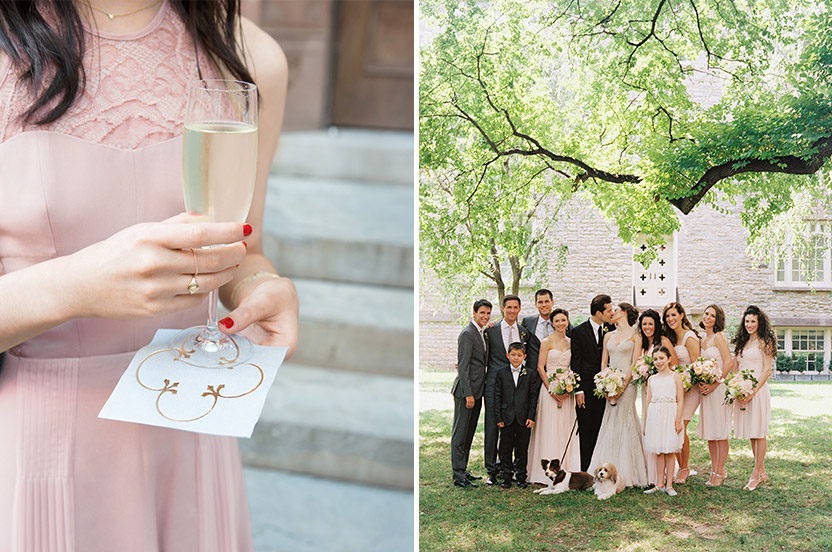 The bridal party takes time for photos and a glass of champagne before an outdoor cocktail reception. We love the cocktail napkins filled from edge to edge with the quatrefoil motif.