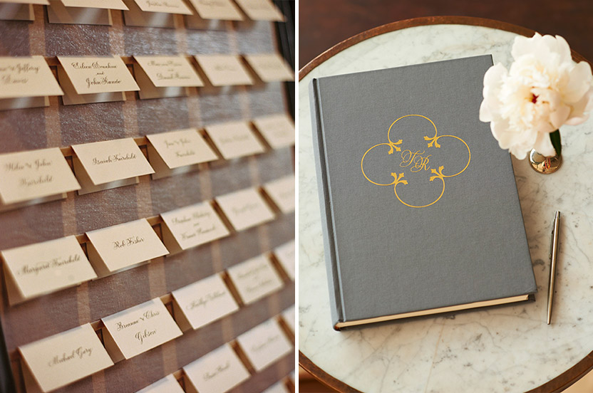 Escort cards were on Wedding Library ballet-slipper linen covered boards. The guest book was hand-foiled with the Design Corral for Wedding Library motif.
