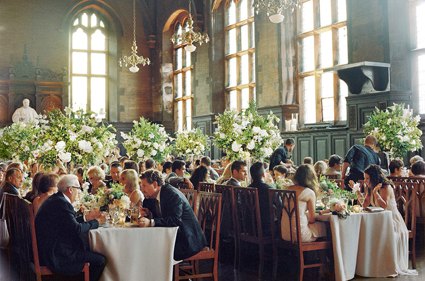 Filled with guests as the sun began to fade, the light pouring in to the refectory's old glass windows was magical.