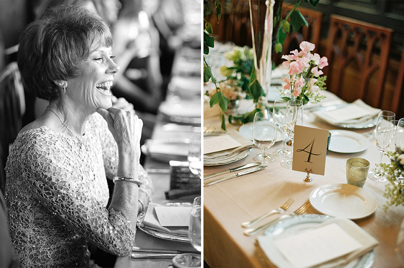The bride's mother, a dance instructor, had a marvelous time. Each place setting and Design Corral for the Wedding Library table number and menu card melded perfectly with the overall design.