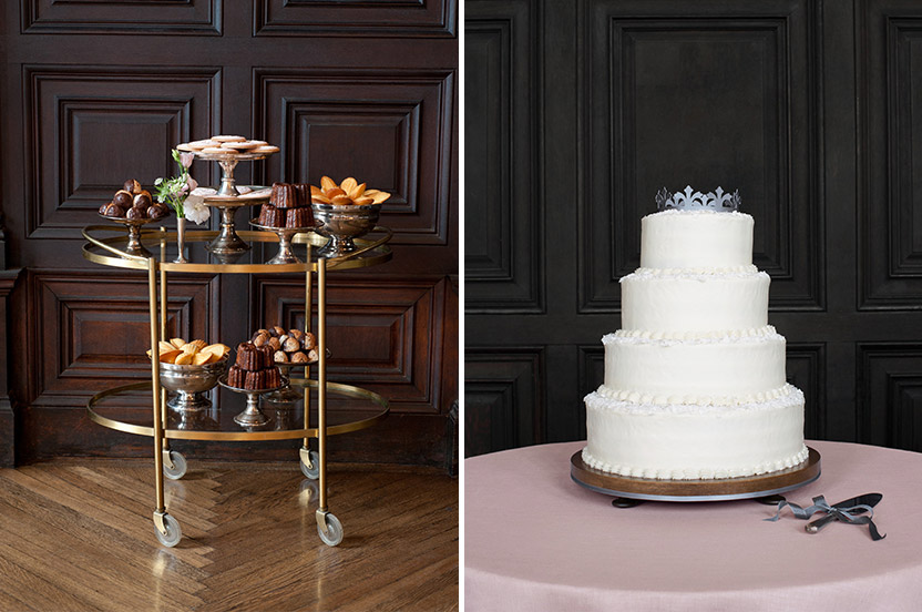 A delicate sweets tray was on offer to guests throughout the dancing portion of the evening. Design Corral for the Wedding Library even designed a little crown for the wedding cake – all on our delicate linen. Note the hooks for the seminarian's robes that surround the perimeter of the room.