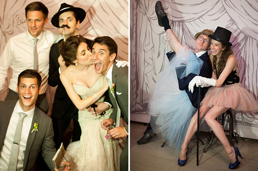 I was inspired by the Paris Opera House trompe-l'oeil curtain to commission a monochromatic canvas version for the couple's old-fashioned photo booth. With help from Design Corral, we came up with this version that absolutely no one could resist posing in front of. Note the ballet dancer legs!