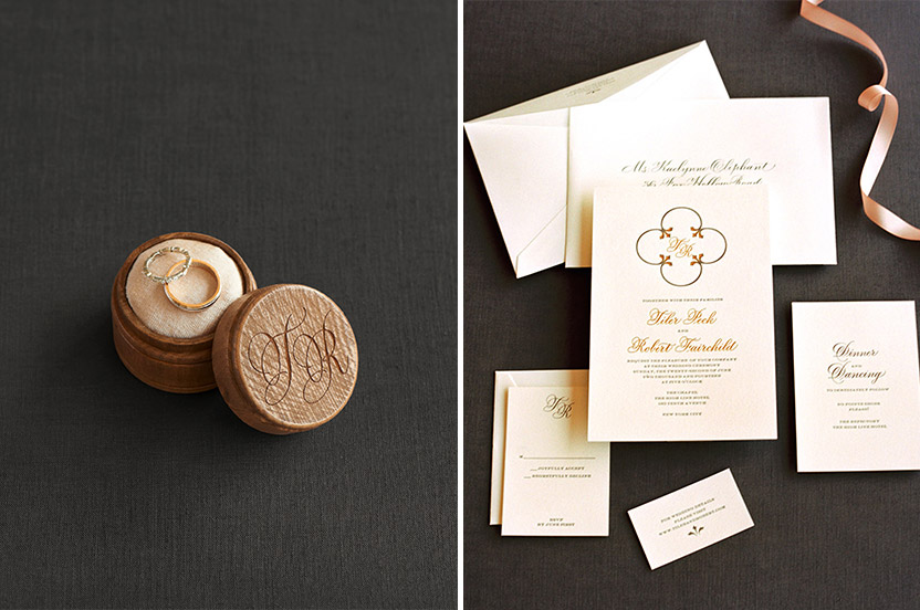 The stationery, created by Design Corral for the Wedding Library, used the omnipresent quatrefoil pattern found on the grounds of the hotel and seminary.  We love the charcoal ink and gold foil stamping.