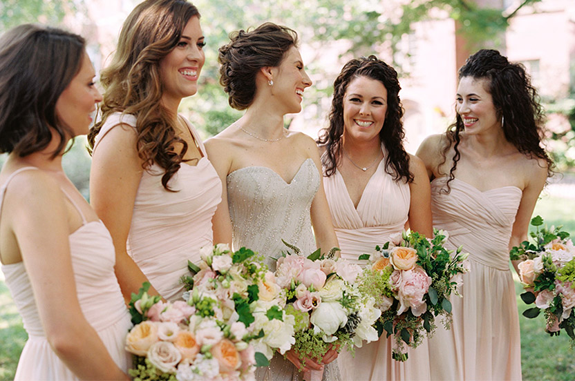 The bridesmaids wore an assortment of Wedding Library Monique Lhuillier gowns in ballet-slipper pink – the elegant party includes NYC Ballet principal ballerinas.
