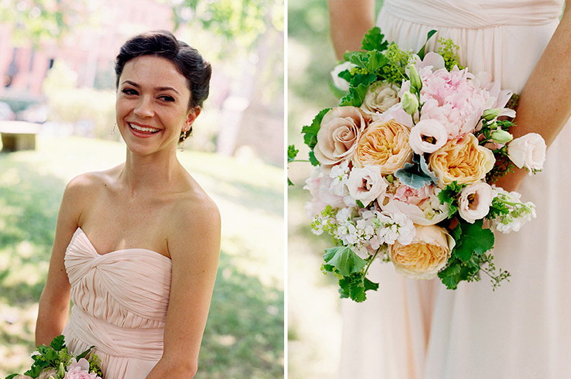 The bridesmaids' bouquets picked up the subtle pink, peach, dusty rose and green of the wedding palette, and included peonies, garden roses, veronica, lady's-mantle, scabiosa and peppermint geraniums.