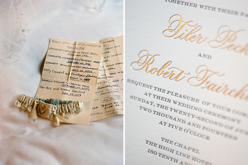 A long-standing ballet tradition is to pass down a garter from dancer to dancer to wear on her wedding day. This one has been shared with ballet legends since 1951. Tiler and Robbie's classic letterpress invitation reflects the traditional, elegant nature of the wedding.