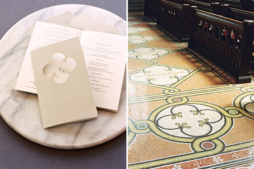 We loved executing the beautiful greige and gold palette and quatrefoil pattern in different ways – here we die-cut the motif on the program cover. The pattern is shown repeatedly on the church aisle floor, in mosaic.