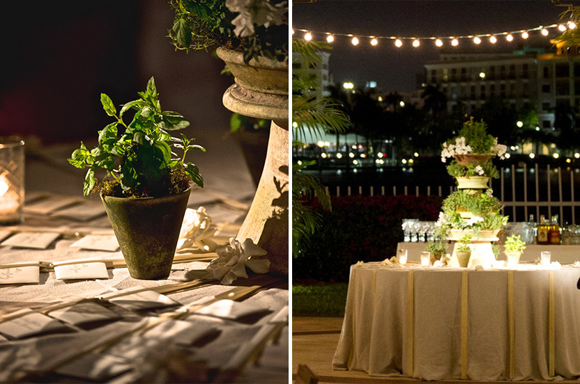 The outdoor escort table later became a focal point of the after party with it's organic tower of flowering herbs and fragrant blossoms. Irish linen and lengths of grosgrain ribbon secured beautifully hand-lettered escort cards.