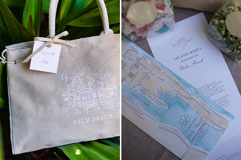 We filled custom totes with goodies for guests attending the wedding. Favorite treats were accompanied by a custom watercolor map of Palm Beach and a detailed itinerary.