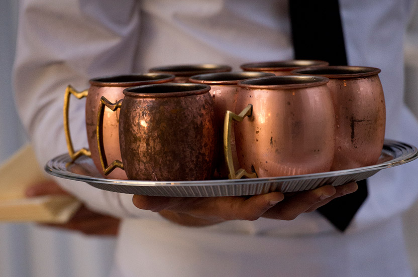 In addition to a full bar and our bourbons, champagne cocktails and original Moscow Mules were on offer. The Mules wouldn't be the same if there weren't served in the traditional copper tankards!