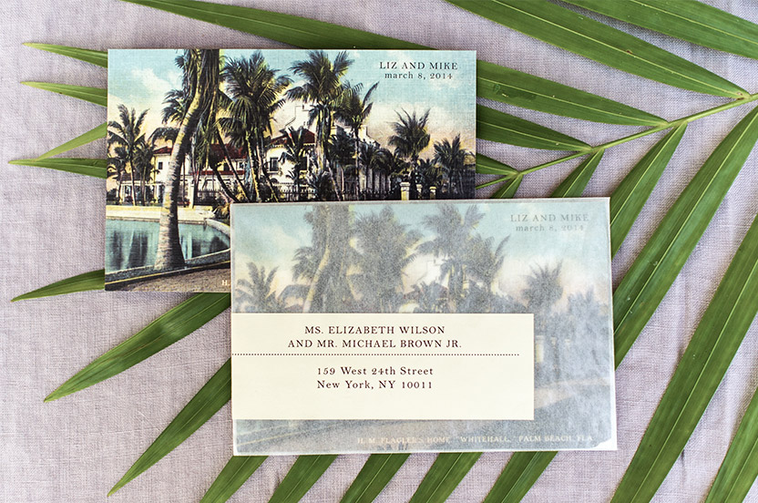 The bride found an original postcard image of the Flagler; we had it reproduced for the save-the-dates. Glassine envelopes and wrap-around address labels finished the look.