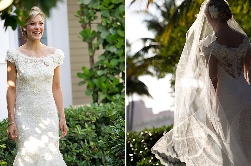 The bride favored a delicate bridal gown design, and flowing cathedral-length veil. We provided fresh gardenias for her hair and took classic portraits outside the Seagull Cottage at the Royal Poinciana Chapel.