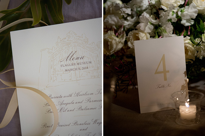 The menu card and table numbers are custom printed and are part of the Wedding Library Collection. We commissioned the custom artwork depicting the Flagler gates for the menu card.