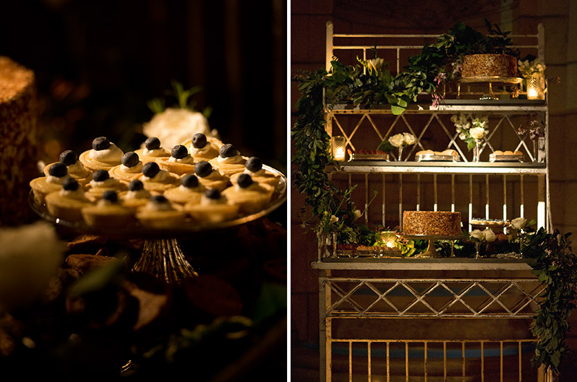 I sourced a vintage bakers rack to hold an assortment of very special desserts. The bride's favorite sweet is the famous Peninsula Grill's Ultimate Coconut Cake; we had a dozen cakes cold shipped overnight from Charleston and served them along with miniature tarts and cookies.