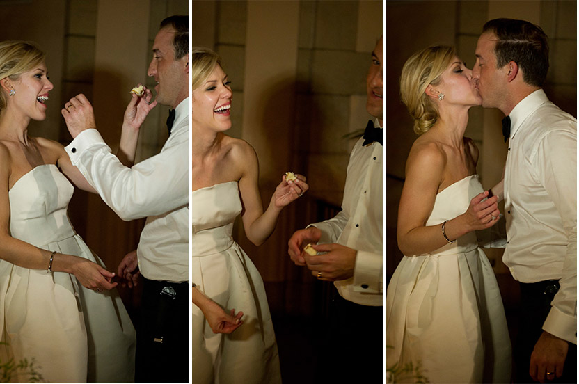 The bride and groom feed each other their favorite coconut cake, shipped in from South Carolina.