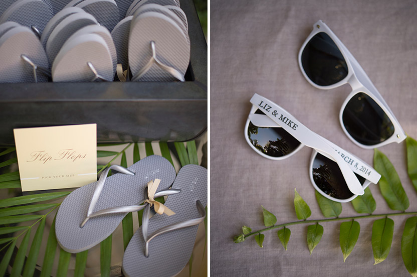 Sunglasses and flip-flops were welcomed by the bridal party and friends as they danced the night away.