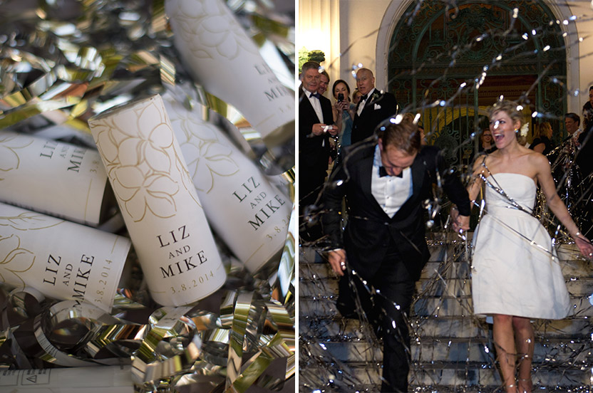 The bride and groom look gorgeous on the front terrace of the Flagler Museum. Although confetti and streamers, sparklers and fireworks are not allowed at the museum, we found mylar streamers that stay attached to their holders, making them effective, easy to clean up, and permitted!